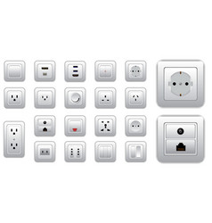 set socket and switch electrical or realistic vector image