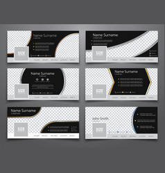 Set the size of 851x314 pixels black banners for vector