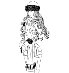 Sexy girl in winter clothing sideways outline vector image