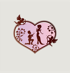 Silhouette of the heart with a guy a girl and two vector