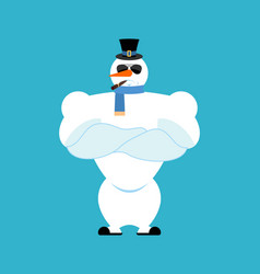 Snowman strong snowman serious powerful hard vector