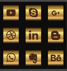 social media icon set with dark background vector image