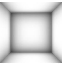 Square empty room with shaded white walls vector