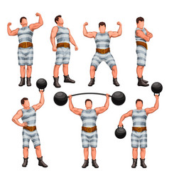 Strong man set vector