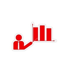 stylish sticker on paper People and chart vector image