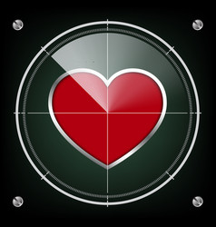 Technology radar screen red heart vector