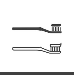 toothbrush with toothpaste icons vector image