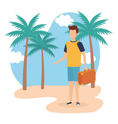 Travel boy on beach design vector