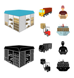 Truck courier for delivery of pizza forklift vector