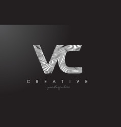 Vc v c letter logo with zebra lines texture vector