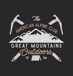 Vintage alpine badge climbing logo vector