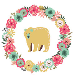 vintage floral frame with a bear vector image