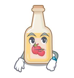Waiting bottle apple cider above cartoon table vector