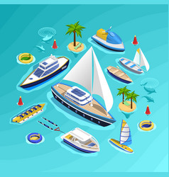 water transport isometric collection vector image