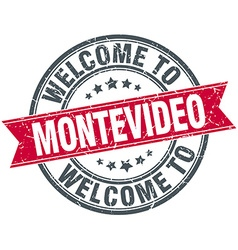 Welcome to Montevideo red round vintage stamp vector