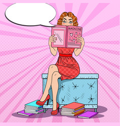 Woman reading fashion magazine pop art vector