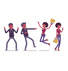 young black man and woman positive emotions vector image