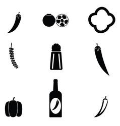 chilli icon set vector image
