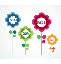 flowers with sale signs vector image vector image