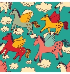 Horses and clouds color seamless pattern vector image vector image