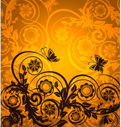 orange floral ornament with butterfly vector image