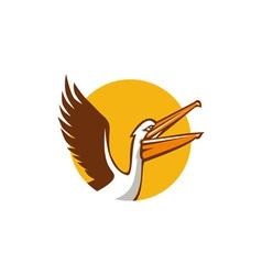 Pelican Flying Up Circle Retro vector image