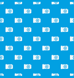 photo camera pattern seamless blue vector image vector image