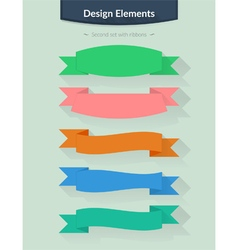 Set with ribbons for your design vector image vector image