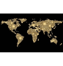 World abstract dotted stylized golden map on black vector image vector image