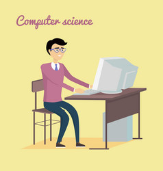 computer science concept in flat style design vector image