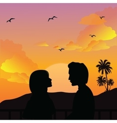 couple silhouette romance man woman girls sunset vector image