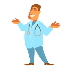 doctor with stethoscope isolated smiling vector image