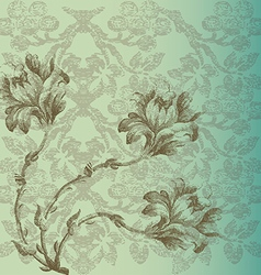 Greeting card vintage with Flowers border vector image