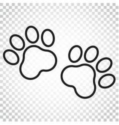 Paw print icon in line style dog or cat pawprint vector