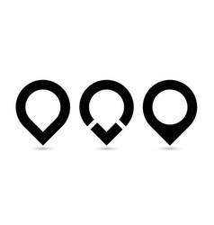 set of three black original map pointers - vector image vector image