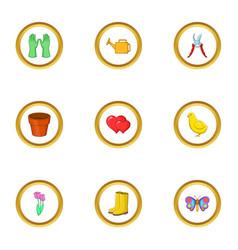 spring garden icons set cartoon style vector image