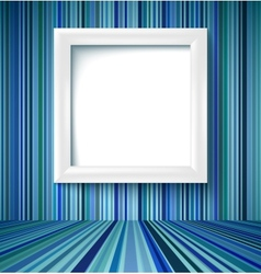 Empty room with photo frame on striped wallpaper vector image