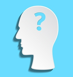 Flat mans head withquestion mark inside vector image