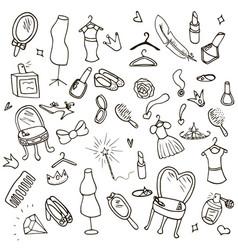 funny children drawing doodle set vector image