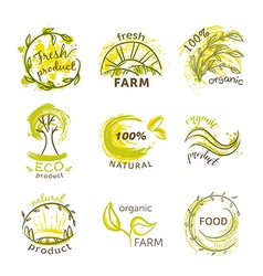 labels for organic natural eco and bio products vector image vector image