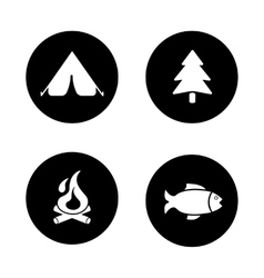 Outdoor picnic black icons set vector image vector image