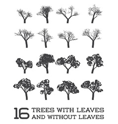 Set of Trees in Silhouettes Black and White With vector image vector image