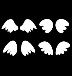 wings set with white angel wings vector image