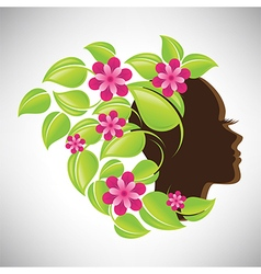 Woman in profile with colorful floral hair vector image