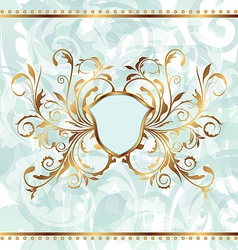 Background with golden ornate and heraldic shield vector image vector image