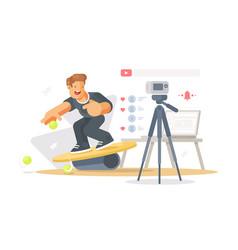 blogger shoots video vector image