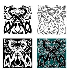 Dragons celtic knot vintage pattern vector image vector image