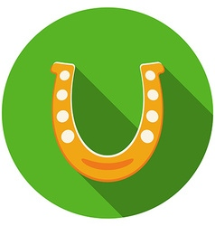 Flat design horseshoe icon with long shadow vector image vector image