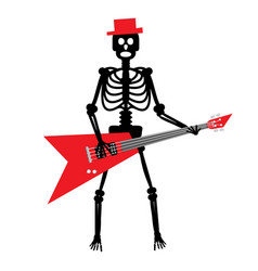 human skeleton with guitar crazy punk rock vector image