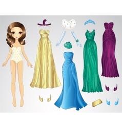 Retro Evening Paper Doll vector image